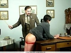 Misbehaving little madam removes her panties and presents her cute ass for the cane