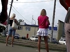 Very hot upskirt white thong for all fans