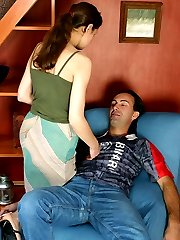 Strap-on armed chick eagerly undressing guy before giving him anal massage