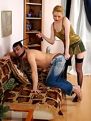 Strap-on armed chick making a guy act her doggy and fucking him like bitch