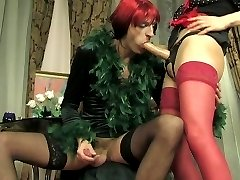 Salacious French maid spreading sissy guys bumhole with her huge strap-on