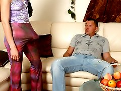 Hottie cant hide her strap-on in her trousers aching to hammer guys ass