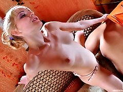 Kinky blondie makes a shy chap suck her fake cock and part his butt cheeks