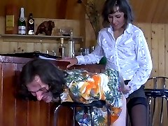 Strap-on armed waitress readily working guy�s shitter to the best advantage