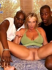 White sluts gets it from both ends by two hung black guys
