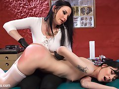 Smokin' hot tattoo artist Veruca James tests young slut's commitment to provocative tattoo ideas with spanking, tons of pussy licking, finger banging, face sitting, clothespins, bondage, caning, and pussy and anal strap-on fucking!