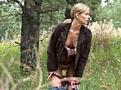 Beautiful blondie filmed by voyeur while peeing