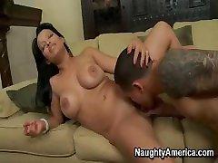 Mason fucked on a sofa in a sexy blue bikini
