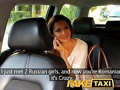 FakeTaxi Hot Romanian girl in backseat blowjob