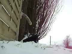 Flash fucking Monster Dildo in Snow Outdoor