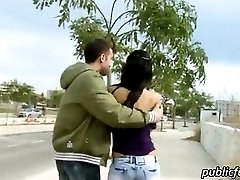 Sexy babe with hot ass ripped in public
