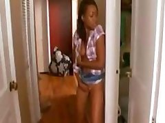 Black teen cutie step sister gets a brotha to fuck her cunt