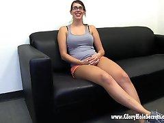 Gloryhole Secrets Sexy Nerd Laura sucks and swallow cum so well
