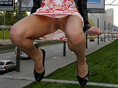 Hot chicks outdoor upskirt