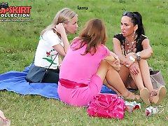 Sexy upskirt girls enjoy a picnic