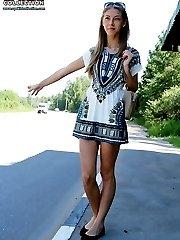 Girl in short skirt caught in street