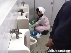 Asian bathroom attendant is in the mens part2