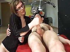 Young pretty girl in glasses feels how this dick explodes over her body