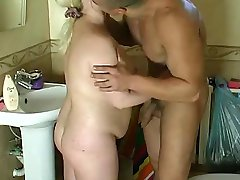 blonde chubby MILF gets a assfuck