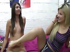 Horny beautiful lesbians licking holes
