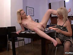 He leaves and mature lesbian seduces her