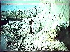 Tough Fucking on the Rocky Beach 1970s Vintage