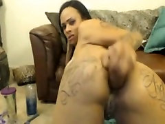 Hot ebony rides anal dildo and facefucks herself