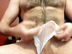 Str8 the hairy daddy cumming in his girls panties