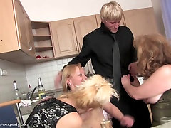 Mature mothers sharing young cock in da house