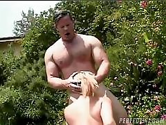 MILF soccer mom gets to suck and fuck this lucky guy outside