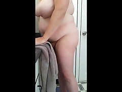 bbw wife drying her big bush & tits after her shower
