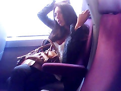 huge tits downblouse in french train