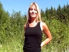 Amateur German wife finger fucking her ass outdoor