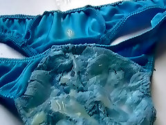 Quick wank and cum on blue panties