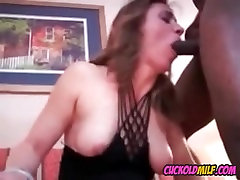 Cuckold MILF with two black bulls Sissy watches her