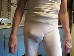 White leggings with tight pink panties