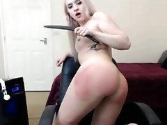 blonde self spanking ass