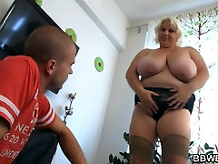 Busty fat girl rides skinny guy