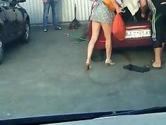 Ukrainian slut without panties in short dress