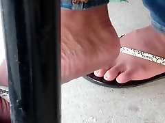 Candid Beautiful Ebony Feet in Cafeteria 2