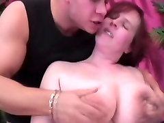 Redhead BBW with big saggy tits masturbate & fuck