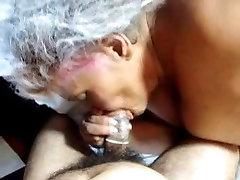 Cocksucking Granny Cum on Tits