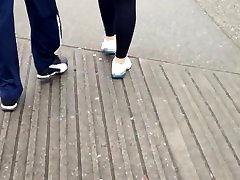 Candid black leggings walking