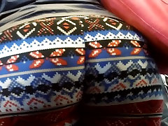 Bbw Ebony Ass in pattern leggings
