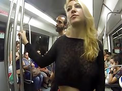 Flashing my huge tits in public in the streets of Barcelona