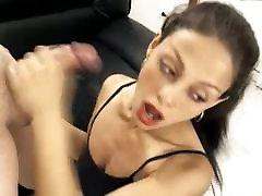 super hot babe gets a face full of cum