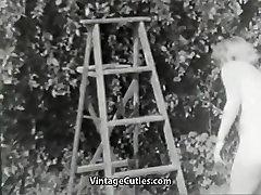 Nudist Girl Feels Good Naked in Garden 1950s Vintage