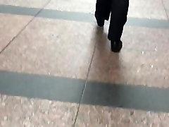 Big booty Latina in black dress pants