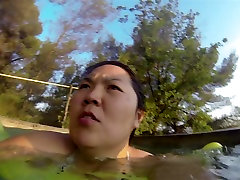 Asian wife swimming suit huge tits