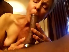 Old white woman sucking black cock